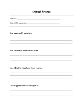 Critical Friends Observation Sheet