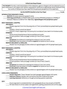 Critical Lens Essay Writing Checklist Guide & Rubric FREE