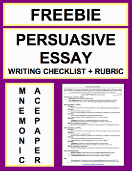 persuasive essay writing checklist guide rubric tpt persuasive essay writing checklist guide rubric
