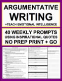 Persuasive Writing & Elaboration Practice with Inspirational Quotes NO PREP
