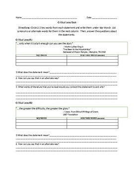 Critical Lens/ Quote Interpretation Worksheet