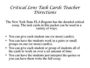 Critical Lens Task Cards