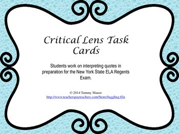 Critical Lens Task Cards