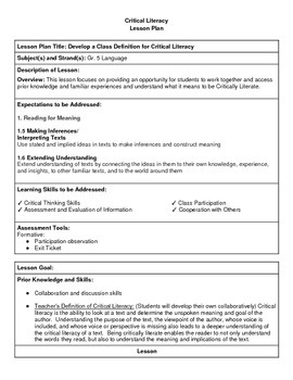 Critical Literacy - Developing a Classroom Definition - Lesson Plan