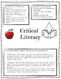 Critical Literacy Student Handout, FREEBIE, Tips To Get You Started