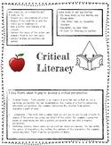 Critical Literacy Student Handout, FREEBIE, Tips To Get Yo