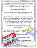 Critical Literacy Reading with a Critical Lens Minilesson Handout