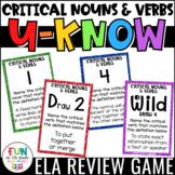 Critical Nouns and Verbs Game: U-Know  {Test Prep Vocabulary}
