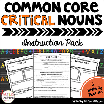 Critical Nouns of the Common Core Instruction Pack