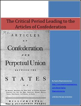 Critical Period Leading to the Articles of Confederation Differentiated Lesson