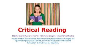 Critical Reading Display Slides
