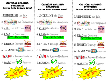 Critical Reading Strats Bookmark