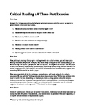 Critical Reading whole class lesson for any text