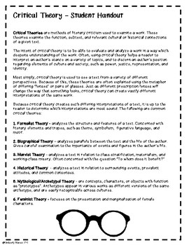 Critical Theory: Literary Criticism - Student Guide, Model, and Exercise - 8 Pgs