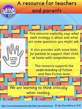 Critical Thinker's Hand resource to support reading at home and at school