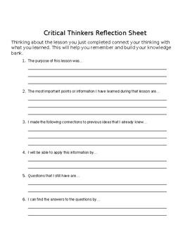 Critical Thinkers Reflection Sheet