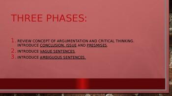 Critical Thinking 2: Premises, Vague Sentences and Conclusions