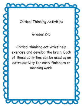 Critical Thinking Activity Packet