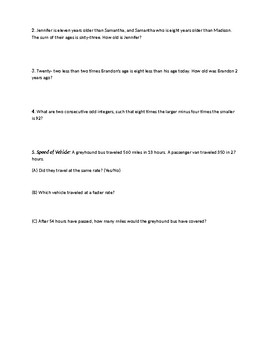 Critical Thinking Algebra and Challenging Word Problems