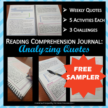 Reading Comprehension Journal: Analyzing Quotes (FREE SAMPLER)