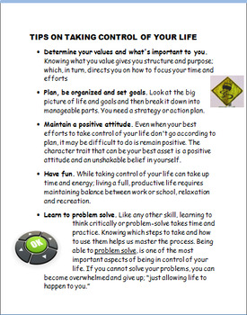 """Being in Control of Your Own Life""-lesson plan, 2 activities"
