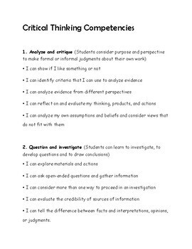 Assessments: Critical Thinking Competency: New BC Curriculum