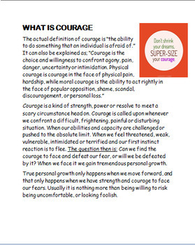 "Courage ""What is Courage"" lesson plan and 2 activities"