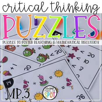 Critical Thinking Equation Brain Puzzles CCSS MP.3