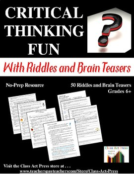 Distance Learning | Critical Thinking Worksheets: Riddles and Brain Teasers