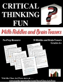 Distance Learning | Critical Thinking Worksheets: Riddles