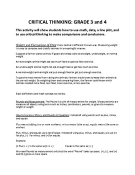 Critical Thinking: Grades 3 and 4 (using math,data, and line plots)