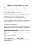 Critical Thinking: Grades 3 and 4 (using math,data, and li