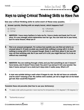 Critical Thinking: Using Critical Thinking Skills to Have Fun