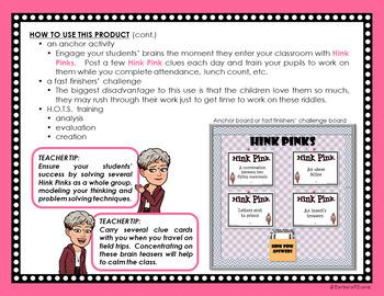 HINK PINKS BUNDLE Critical Thinking Vocabulary Development GATE Enrichment