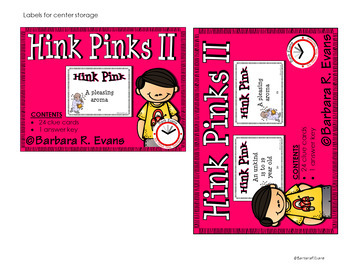 HINK PINKS II -- Critical Thinking, Vocabulary, H.O.T.S., G.A.T.E., Riddle