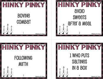 HINKY PINKY I Critical Thinking Vocabulary Development GATE Enrichment