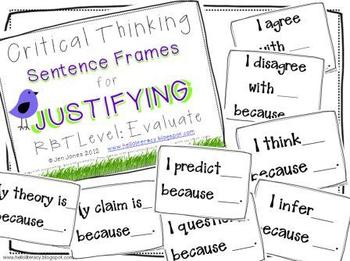 Critical Thinking Language Sentence Frames {Say What?}  Aligned to Common Core