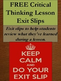 FREE Critical Thinking Lesson Exit Slips