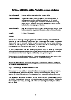 Critical Thinking Lesson Plan (PDF, 5 pages)