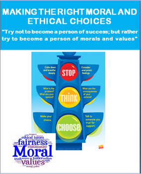 """""""Moral and Ethical Choices"""" lesson and activities"""