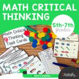 Math Task Cards for Math Computation | Critical Thinking & Algebraic Thinking