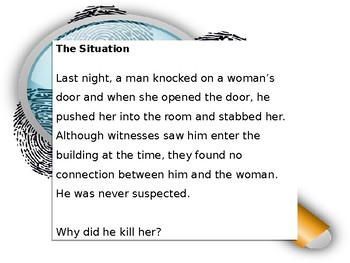 Distance Learning Critical Thinking Mystery Activity: An Unrelated Murder PPT