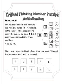 Critical Thinking Number Puzzles for Multiplication Level: EASY