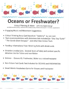 Critical Thinking: Oceans or Freshwater? reading, science, vocabulary, dictation