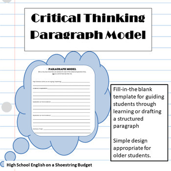 Critical Thinking Paragraph Model