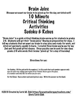 May Critical Thinking Puzzles Brain Juice