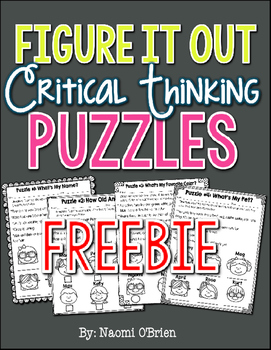 Critical Thinking Puzzles Freebie