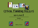 Critical Thinking Puzzles: Variety Pack 2 for Middle Schoolers