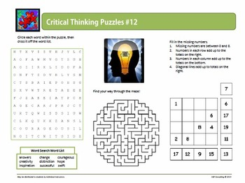 Critical Thinking Puzzles: Variety Pack 3 for Middle Schoolers