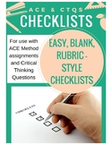 Critical Thinking Questions & ACE Method Checklists
